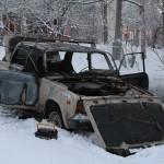 В Серовском дворе горел автомобиль