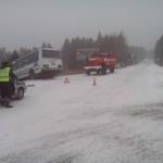 В результате, автомобиль столкнулся с автобусом, который ехал из поселка Лесозавод на Птицефабрику