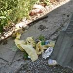 А вот мусор - за остановкой. После уборки.